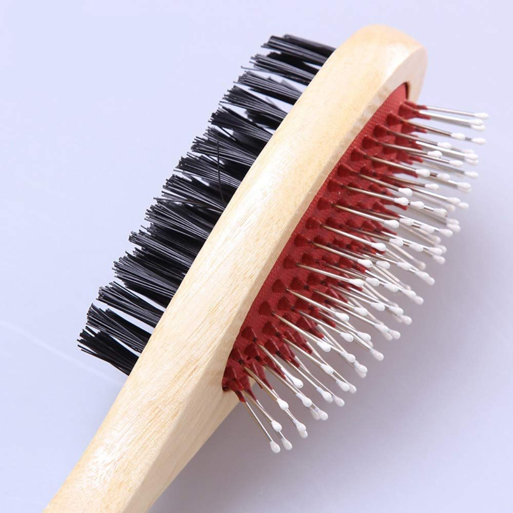 Pet Supplies Pet Dog and cat Comb Wooden Handle Double-Sided Fluffy Needle Brush Comb (Color : Large)
