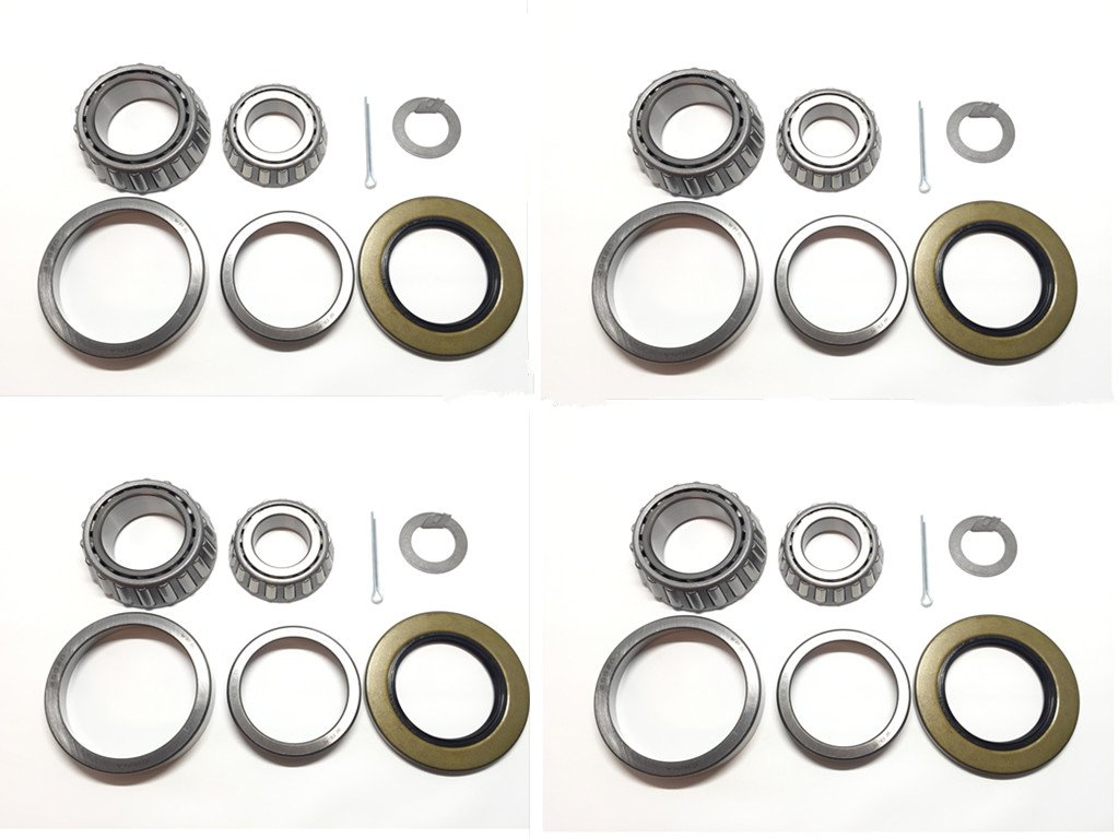 (Set of 4) Trailer Hub Wheel Bearing Kit WPS (TM) 25580 14125A with Double Lip Grease Seals 10-10 (or 10-36) for 5200-7000 lb. Tandem Axles by WESTERNPRIME