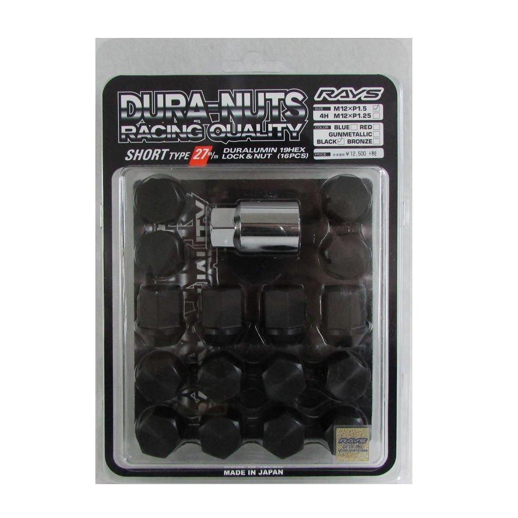 【RAYS(レイズ)】 ジュラルミンロック&ナットセット ショートタイプ M12×1.5 ブラックアルマイト 27mm 74000000017BK B00U3W1G5S