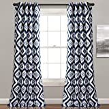 Lush Decor Lush Décor Diamond Ikat Room Darkening Window Curtain Panel Pair, 0, Navy For Sale