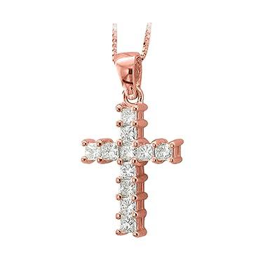 Amazon igi certified 14k rose gold princess cut cross diamond igi certified 14k rose gold princess cut cross diamond pendant necklace 100 carat aloadofball Gallery