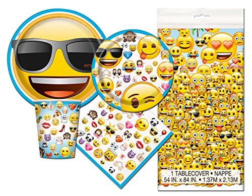 Emoji Themed Birthday Deluxe Party Pack Serves 16 Plates Cups Napkins & (Birthday Deluxe Party Kit)