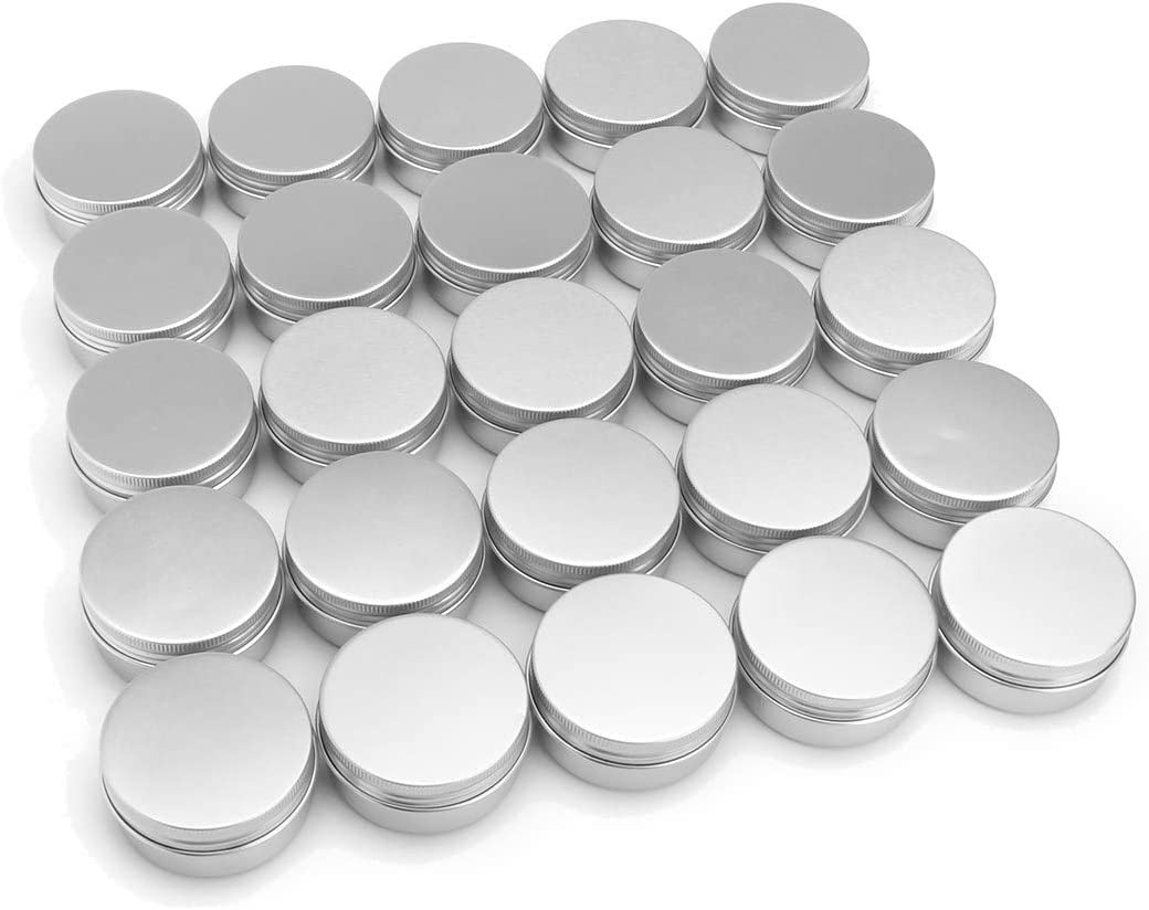 60 Pack aluminum round lip balm tin container bottle with screw thread lid - great for store spices, candies, tea or gift giving, (1oz)