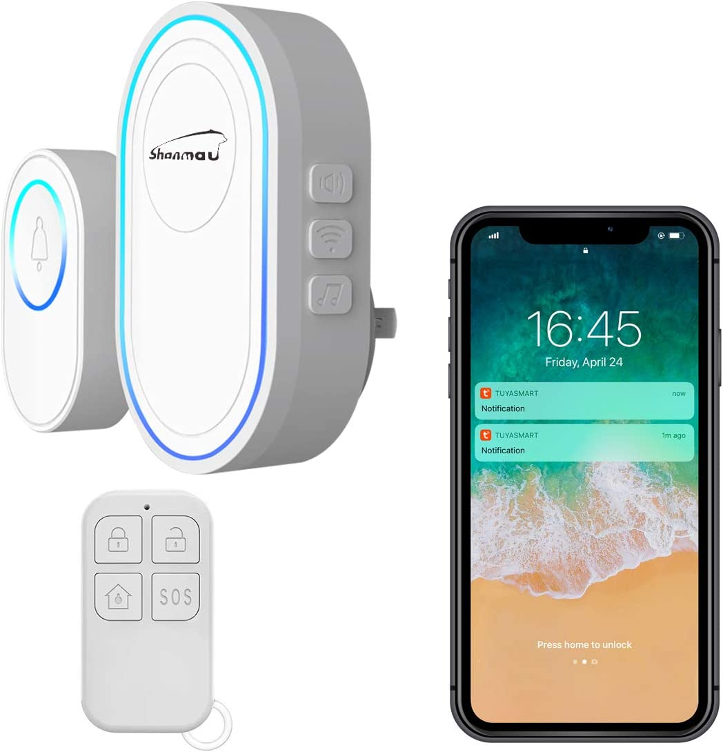 WiFi Wireless Doorbell Caregiver Pager Smart Call & Security Alarm System, SOS Call Button Remote Controller/1 Hub/1 Doorbell Button, Phone Can Receive APP Push Alert Notifications Anytime Anywhere