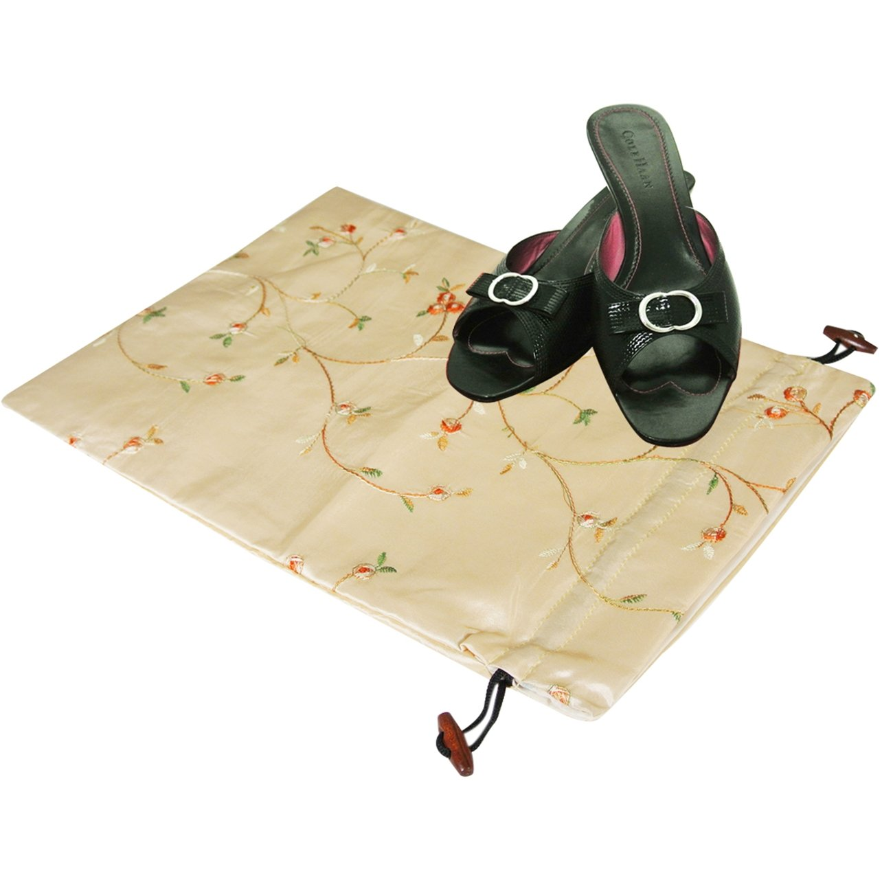 Wrapables Beautiful Embroidered Silk Travel Bag for Lingerie and Shoes Beige