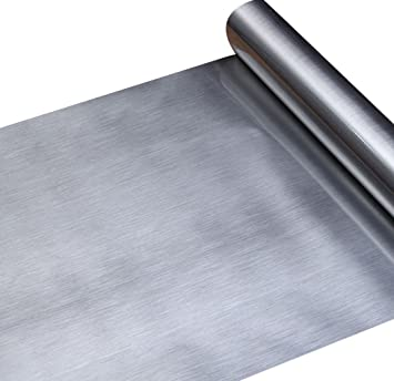 Amazon.com: Walldecor1 Papel de contacto de acero inoxidable ...