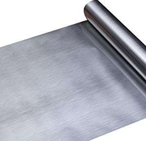 Walldecor1 Stainless Steel Brushed Contact Paper for Dishwasher Appliances Refrigerator Oven Fridge, Metal Covering Self Adhesive Shelf Drawer Liner, Dishwasher Cover