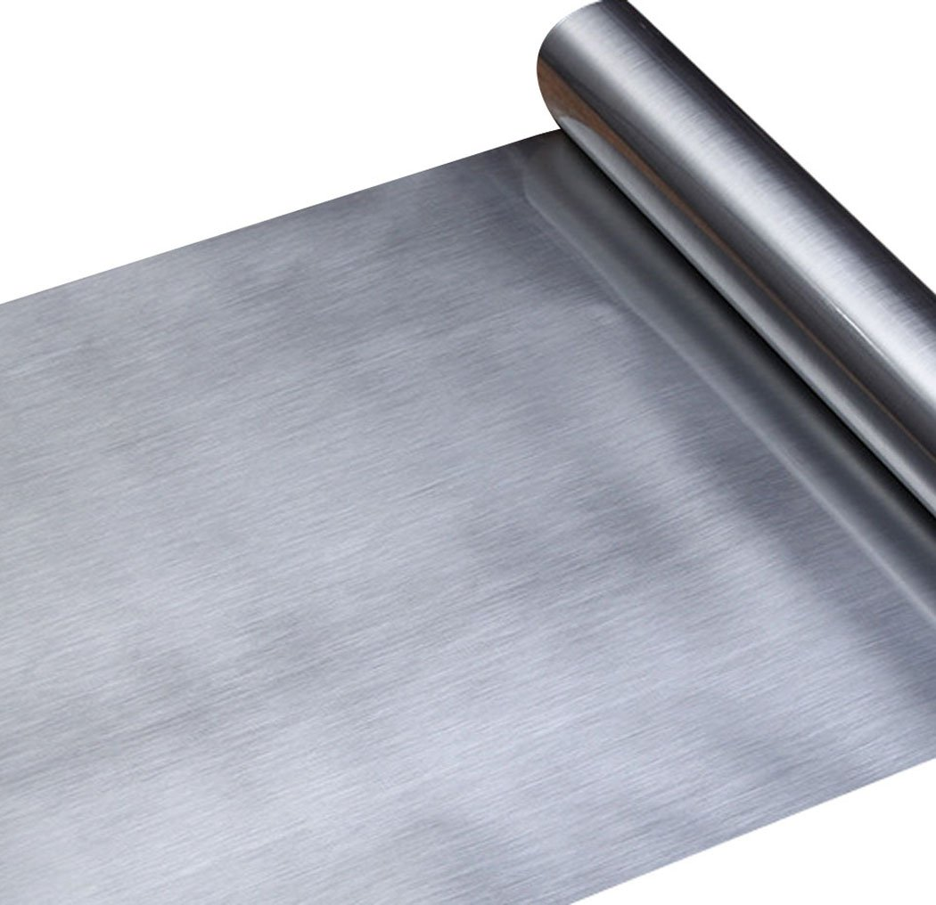 Walldecor1 Stainless Steel Contact Paper for Dishwasher Appliances Refrigerator Oven Fridge, Metal Covering Self Adhesive Shelf Drawer Liner, Dishwasher Cover (Silver, 11.8'' x 78.7'')