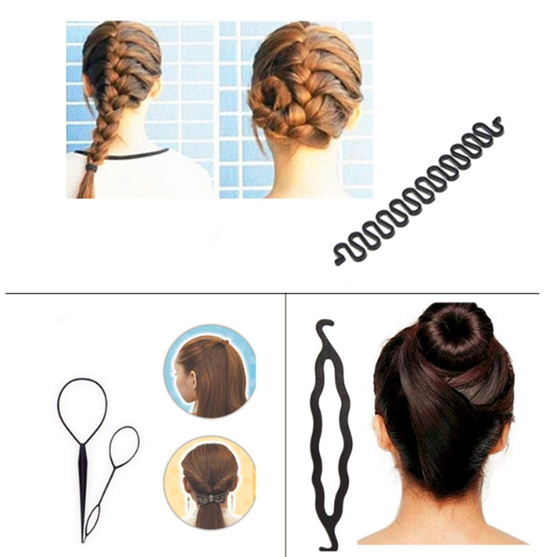 19 Pcs Hair Braiding Tool, DIY Hair Styling Tool Kit Updo Ponytail Maker Accessories Topsy Hair Braid Kit, Coloure, (19 Pairs Topsy Tail) … : Beauty
