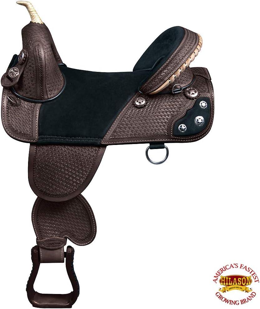 HILASON Western Horse Saddle Treeless Trail Barrel American Leather