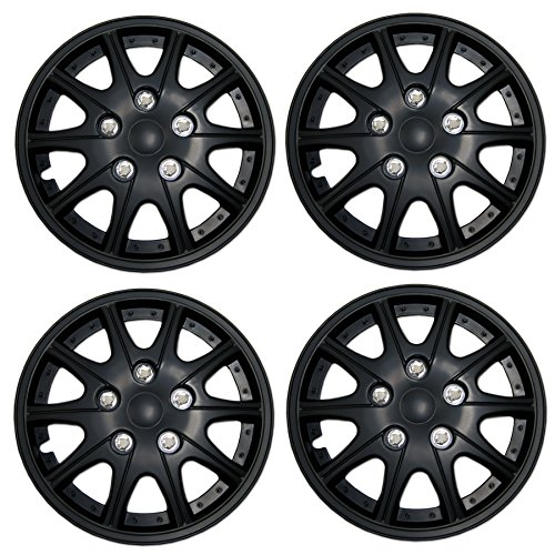 Tuningpros WC3-14-1005-B - Pack of 4 Hubcaps - 14-Inches Style 1005 Snap-On (Pop-On) Type Matte Black Wheel Covers Hub-caps