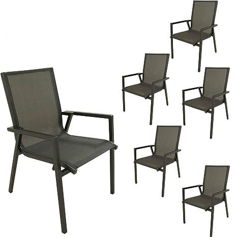 Pack 6 sillones jardín Aluminio Antracita y textilene ...