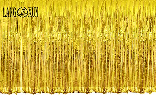 Langxun 12ft x 8 ft (3.6M x 2.4M) Thickened Aluminum Foil Fringe Curtains | Golden Sequin Backdrop for Photography Party, Prom, Birthday, Wedding, Event Decorations (GOLD) (Halloween Funny Cover Photo)