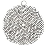 Cast Iron Cleaner - Chainmail Scrubber, Stainless Steel Cast Iron Scrubber for Cast Iron Skillet, Pan, Wok, Dutch Oven and more, 8.5 x 7 x 0.1 Inches