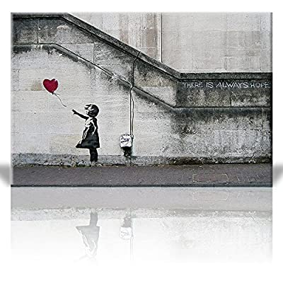 "wall26 - There is Always Hope Banksy Street Art - Canvas Art Wall Decor -24""x36"" - High quality printed canvas stretched and stapled to durable shrink resistant frames. High definition giclee modern canvas printing artwork, a perfect gift for your relatives and friends on birthday, wedding day, anniversary, festival etc. A perfect wall decorations paintings for living room, bedroomm, kitchen, office, hotel, dining room, bathroom, bar etc. - wall-art, living-room-decor, living-room - 61xZ4ooU7ML. SS400  -"