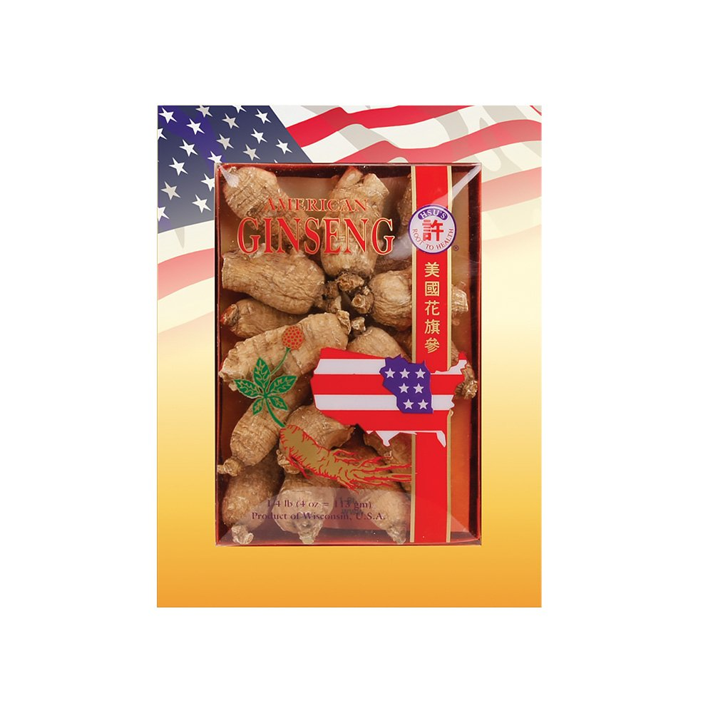 HSU's Ginseng SKU 111-4 | Short Large | Cultivated Wisconsin American Ginseng Direct from Hsu's Ginseng Gardens | 许氏花旗参 | 4oz Box, 西洋参, B000638OQI