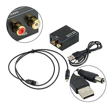 LUFA - Adaptador convertidor de audio digital óptico coaxial Toslink a RCA