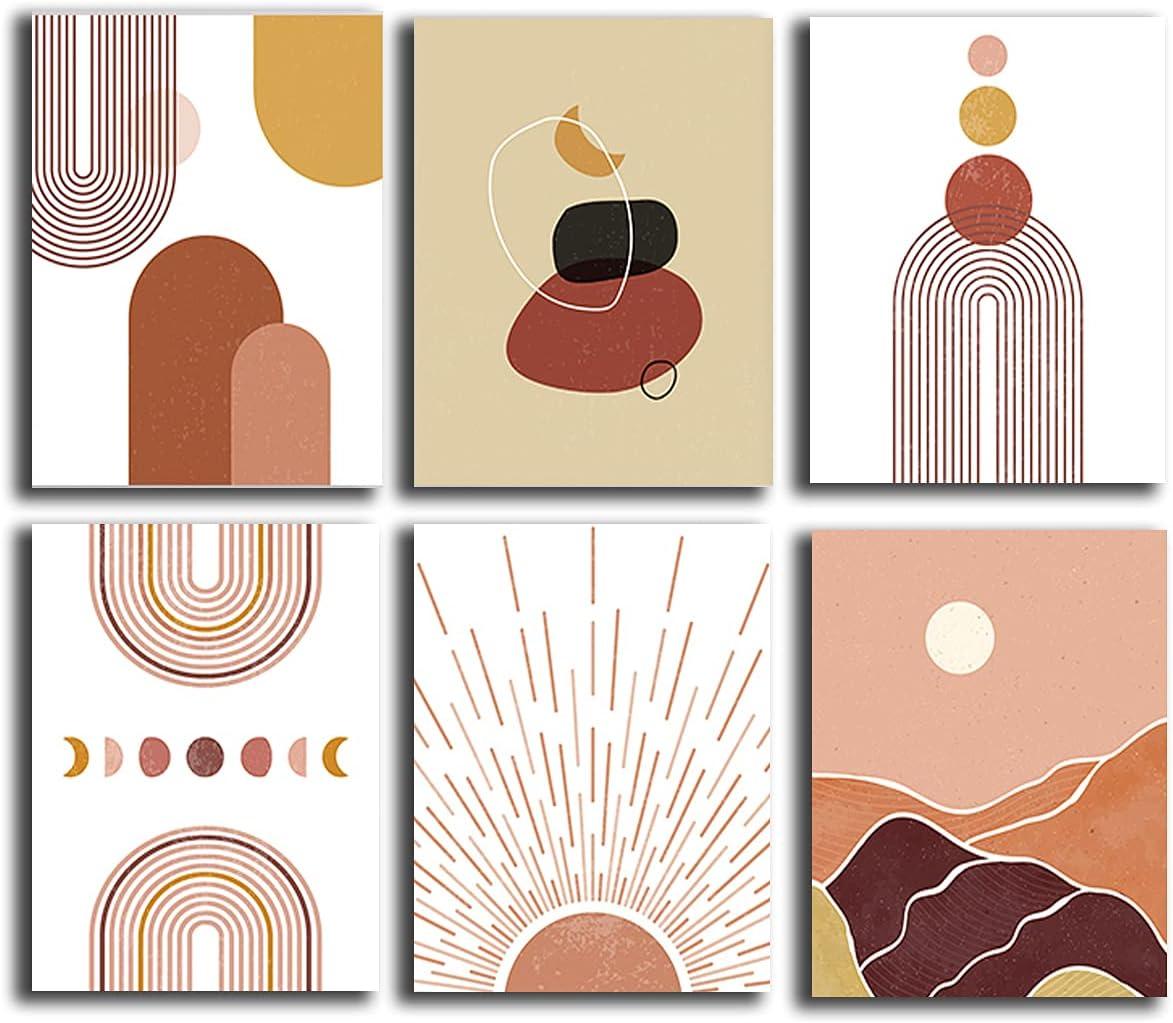 Neutral Boho Wall Decor Art - Set of 6 (8