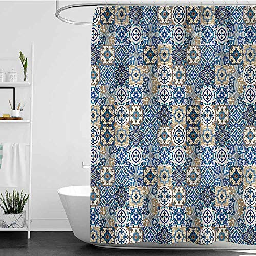 - Tim1Beve Bathroom Curtains,Moroccan Big Collection of Portuguese Traditional Azulejo Motifs Oriental Curls,Shower Curtain with Hooks,W94x72L Blue White Pale Brown