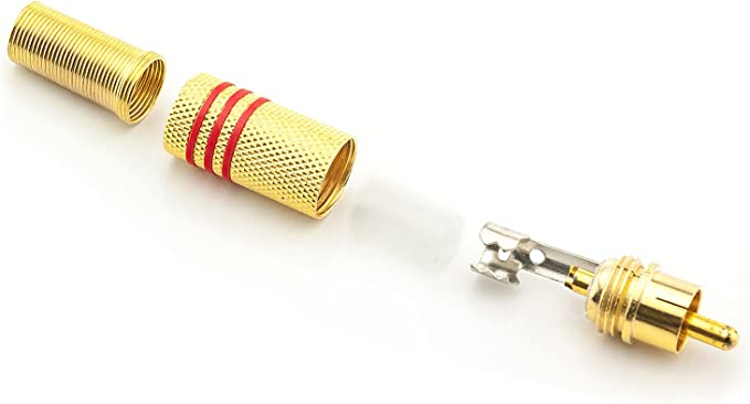 20x Cinch RCA Stecker 6mm zum Löten Schrauben Chinch vergoldet Metall Set