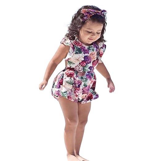 d175cc29107 Amazon.com  KONFA Toddler Newborn Baby Girls Ruffles Romper+Flowers ...