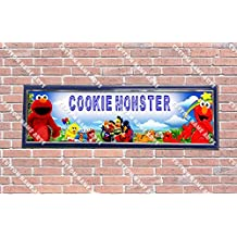Personalized Customized Elmo Cookie Monster Poster With Frame, With Your Name On It, Party Door Poster, Room Art Decoration, Wall Decor