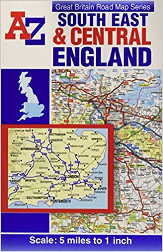 A Z Map Of England.South East Central England Road Map A Z Road Map Amazon