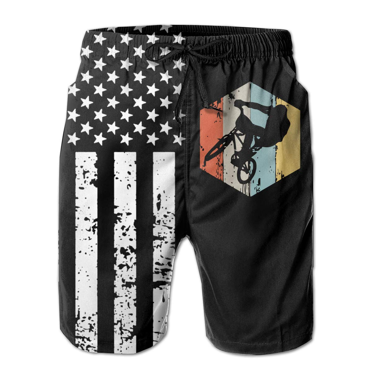 Vintage Retro Look BMX Mens Quick Dry Boardshort for Surf Sand and Fun