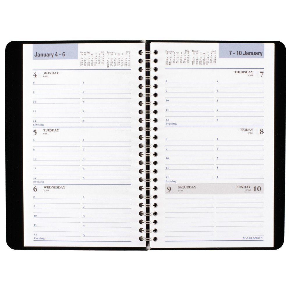 Amazon.com : DayMinder Weekly Planner / Appointment Book 2016, 4.87 X 8  Inches, Black (G20000) : Office Products