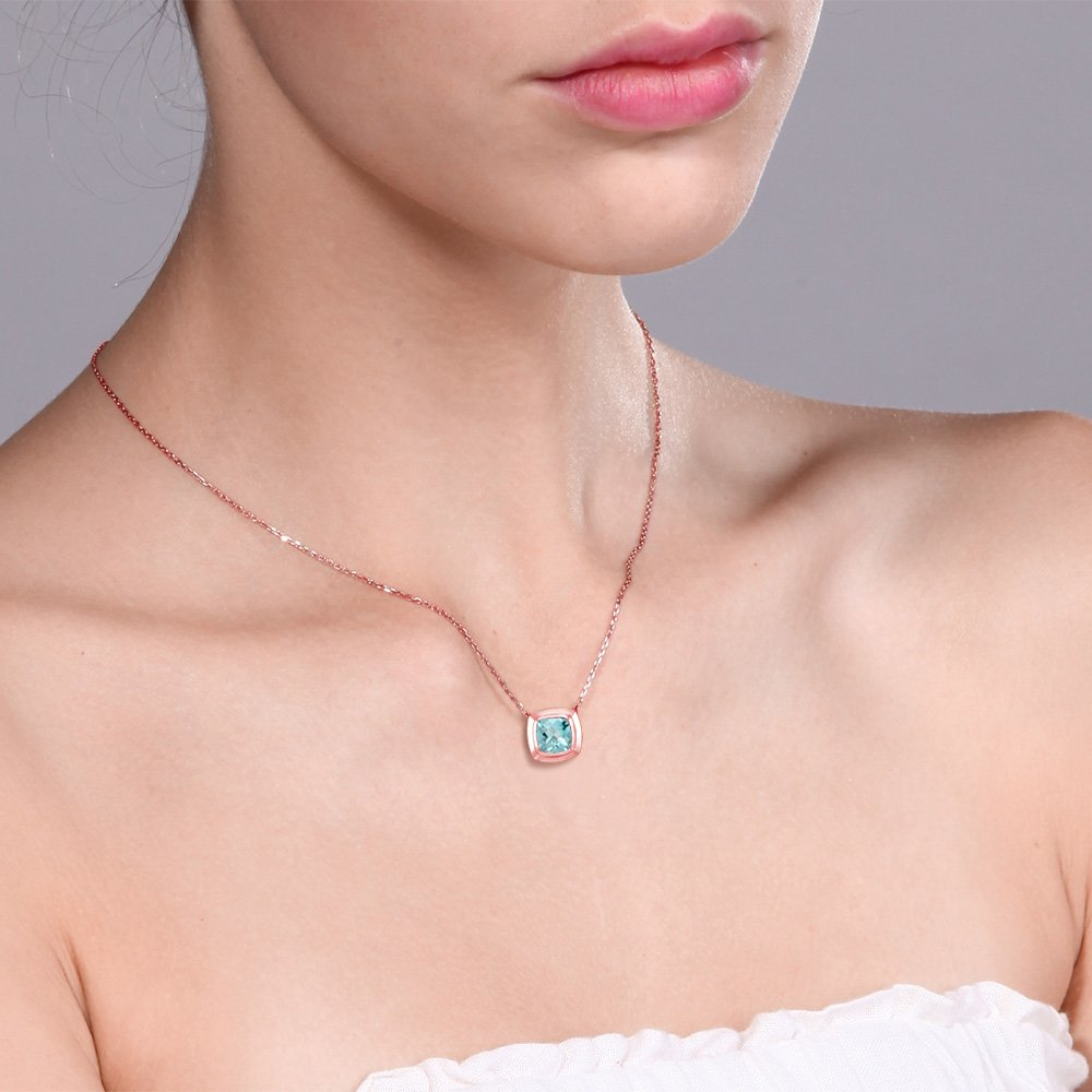Gem Stone King 1.10 Ct Checkerboard Sky Topaz 18K Rose Gold Plated Silver Pendant With Chain