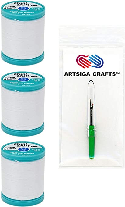 Coats /& Clark Dual Duty Plus Button /& Craft Thread 50 Yds Pack of 2 Many Colo