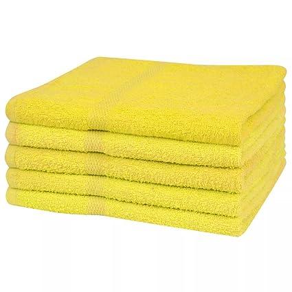 vidaXL 5X Toallas de Baño 100x150 cm Amarilla Paño Trapo Tela Limpieza Secado