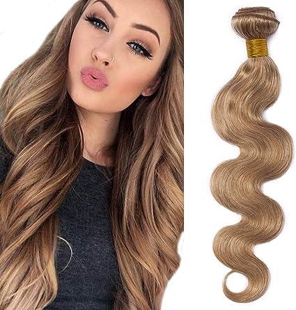 30cm Extensiones de Cortina Pelo Natutal [Brazilain Human Hair Bundles] #27 Rubio Miel (1 Pieza,100g)