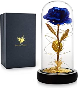 Mom Gifts, Enchanted Blue Rose, 24K Gold Gilded Rose, Galaxy Artificial Rose Flower and LED Strip Lights in a Glass Dome, Home Decor Holiday Party Wedding Anniversary Birthday Gifts Decorations