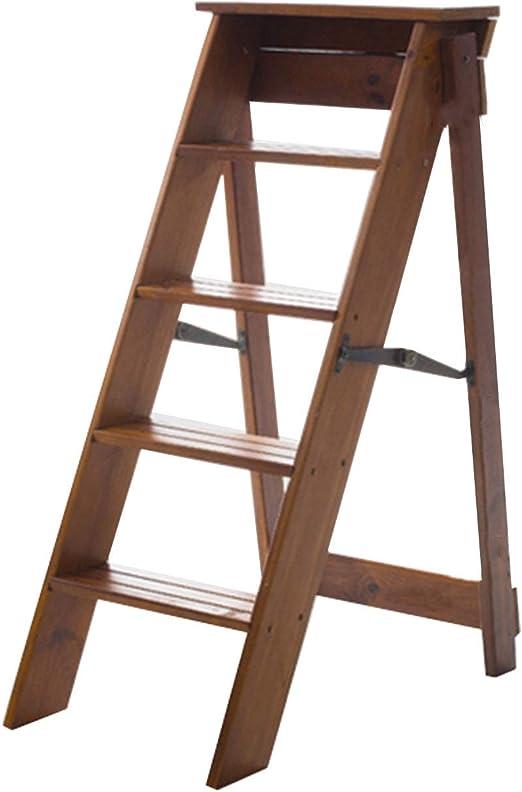 Plegables pasos de escalera Escalera de tijera plegable de madera maciza, silla móvil multifunción Escalera de tijera para uso interior Escaleras de 5 pasos, marrón: Amazon.es: Hogar