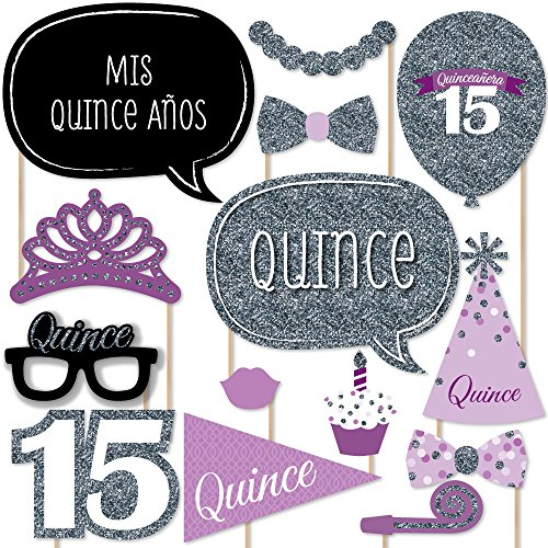 Big Dot of Happiness Quinceanera Purple - Sweet 15 - Birthday Party Photo Booth Props Kit - 20 Count