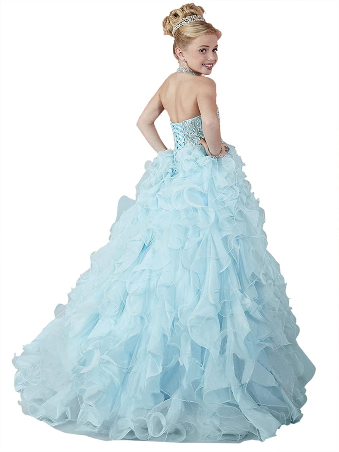Amazon.com: HuaMei Girls\' Chiffon Halter Birthday Party Ball Gowns ...