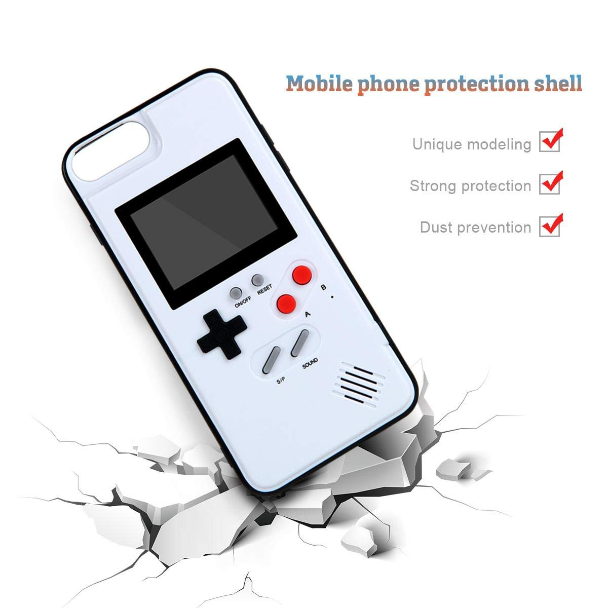 Womdee Game Console iPhone Case, Handheld Game Console Case Cover with 36 Games Phone Case (iPhone 6p/7p/8p, White) by Womdee (Image #6)