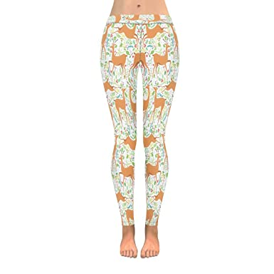 6fac4c3ea32 INTERESTPRINT Cute Cartoon Deer with Plants Floral Pattern Stretchy Capri  Leggings Skinny Yoga Pants 4XL