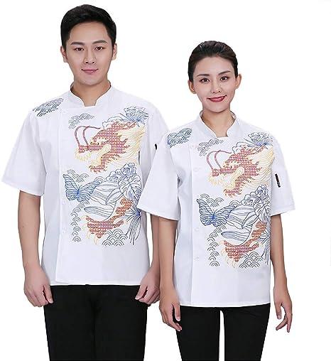 Chaqueta de Chef Unisex Capa Camisa Mangas Cortas Cocina Ejecutivo Camarero Mangas Corta Atavío Camiseta de Cocinero,Blanco,XXXL: Amazon.es: Deportes y aire libre