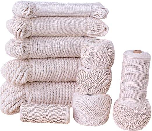 flipped Cuerda de algodón para Manualidades con macramé Hecha a Mano, Cuerda de macramé de 1 mm/900 m, 1,5 mm/600 m, 2 mm/350 m, 2,5 mm/200 m, 3 ...