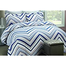 Tribeca Living Chevron Printed Flannel 200 GSM Luxury Duvet Cover Set, Queen, Multicolor