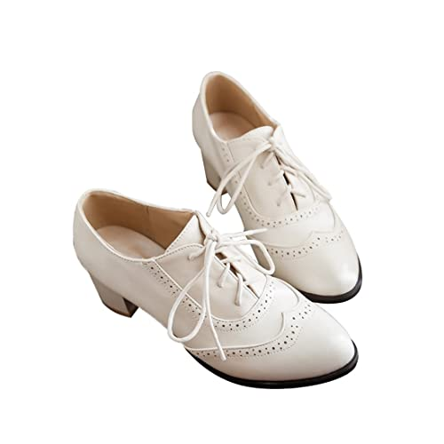 d34a9b0fbdf9c Susanny Women's Shoe Classic Lace Up Dress Pumps Mid Heel Wingtip Saddle  Oxfords Brogue Shoes