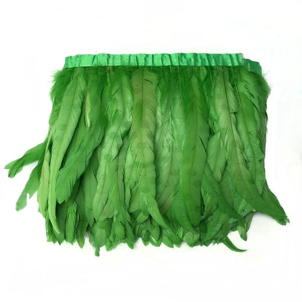 Green AWAYTR Rooster Hackle Feather Trim 10-12 inches Width for DIY Sewing Crafts Pack of 1 Yard