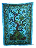 Amitus Exports TM Premium Quality 1 X Tree Of Life 83''X53''(Approx.) Inches Turquoise Multi Color Twin Size Cotton Fabric Tapestry Hippy Indian Mandala Throws (Handmade In India)