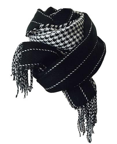 DELEY Otoño Invierno Mujeres Señora Bandas De Pata De Gallo Reversible Bufanda Simplicidad Elegante Gruesa Caliente Fulares Chales Con Flecos