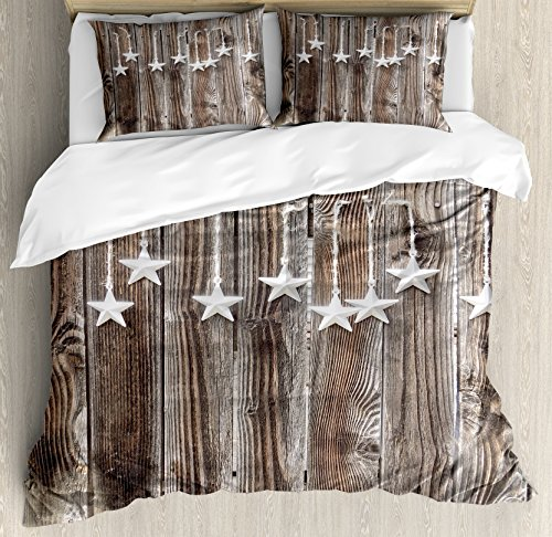 Ambesonne Primitive Country Decor Duvet Cover Set King Size, Silver Colored Ornate Stars on Wooden Rustic Fence Cabin Print, Decorative 3 Piece Bedding Set with 2 Pillow Shams, Brown Silver
