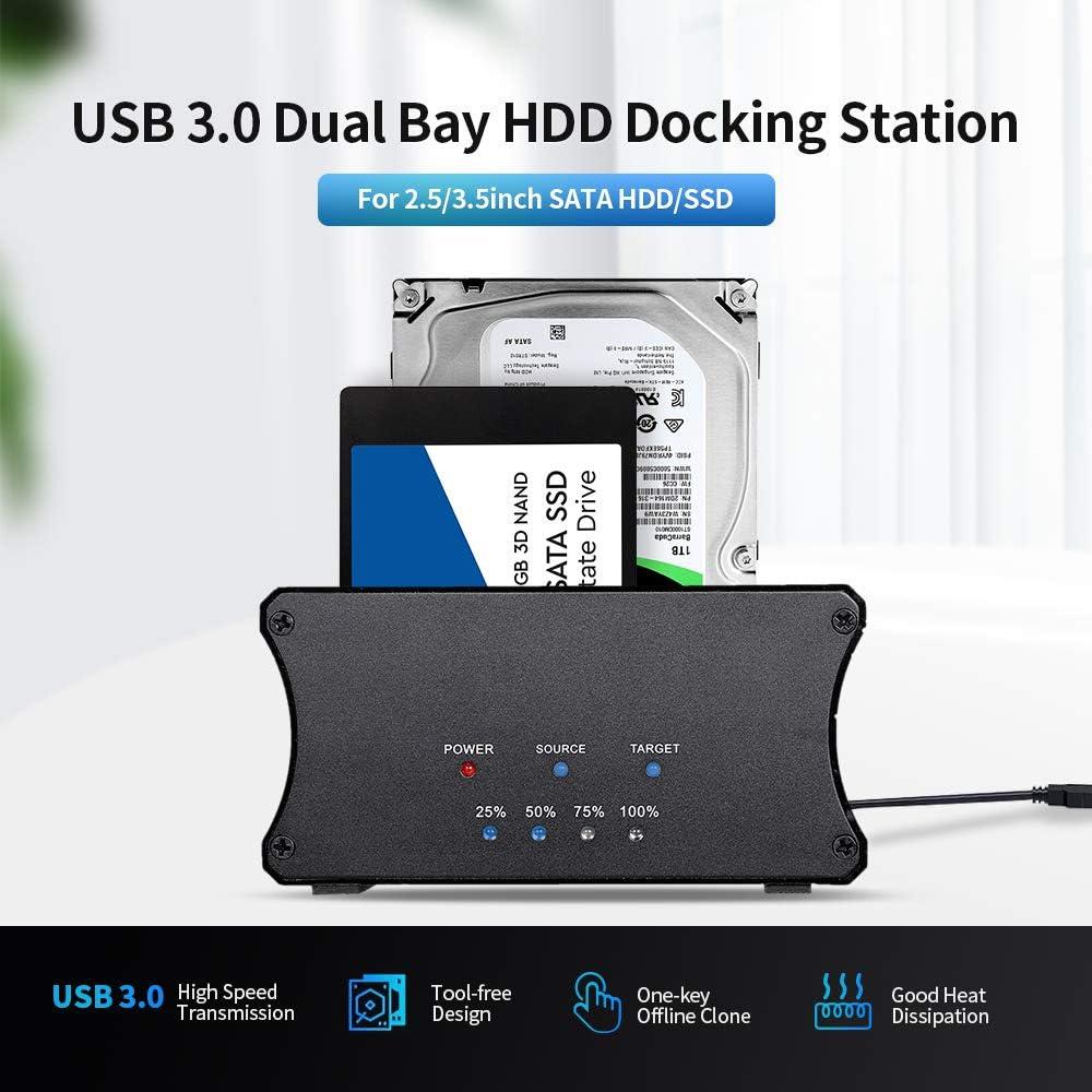 Docooler USB 3.0 Dual Bay HDD Docking Station 2.5//3.5inch SATA HDD//SSD Docking Station Aluminium Alloy Shell US Plug