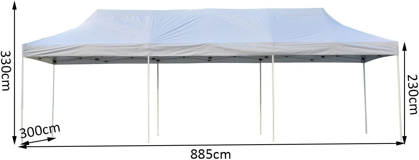 Outsunny 3 x 9m Garden Pop Up Canopy Waterproof Heavy Duty Folding Outdoor Gazebo Marquee Patio Portable Wedding Party Tent wWheeled Carry Bag