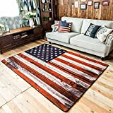 Wolala Home™Blue Star and Red Stripe Vintage US Flag Living Room Carpet Large 5 Feet 3 Inches by 7 Feet 6 Inches